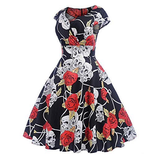 Zbkdds Old Fashion 1950s Vintage Dress Daorokanduhp V-Neck Short Sleeeve Rose Skull Cocktail Party Ball Gown Dress Ladies 50s