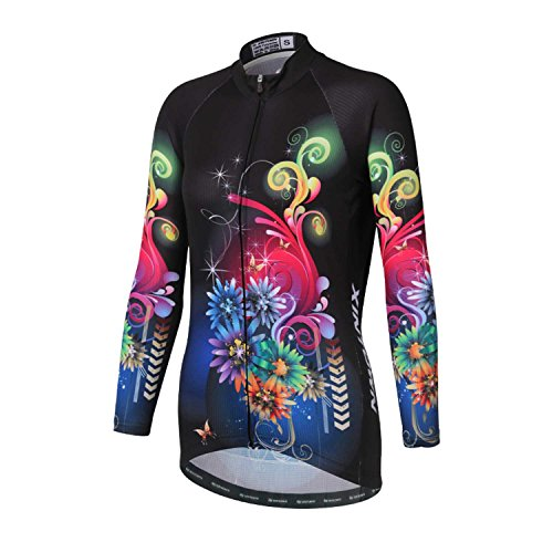 DuShow Women's Long Cycling Jersey, Patterns Stylish Breathable Long Sleeve Bicycle Shirt Top (3XL, Flower)