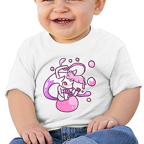 LALayton Pokemon Mew Lovely For Unisex Baby Short-Sleeve Shirts White