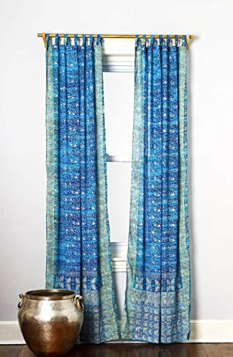 Turquoise Teal Curtain Boho Window Treatment Light Sari 108 96 84 inch for Bedroom Living room Dining room Kids Yoga Studio Canopy Bed Tent Hippie Gypsy Bohemian Chic Bright Color HomeDecor W Gift bag