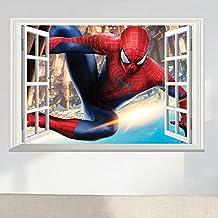 Fange DIY Removable the Spider Man Super Hero 3D Window View Art Mural Vinyl Waterproof Wall Stickers Kids Room Decor Nursery Decal Sticker Wallpaper 33.4''x22.8''