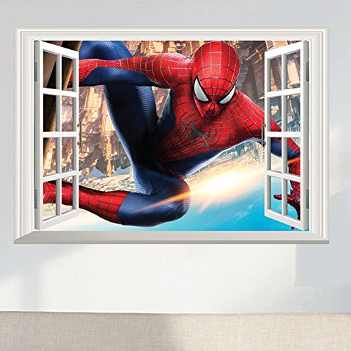 Fangeplus(TM) DIY Removable the Spider Man Super Hero 3D Window View Art Mural Vinyl Waterproof Wall Stickers Kids Room Decor Nursery Decal Sticker Wallpaper - Spiderman Wallpaper