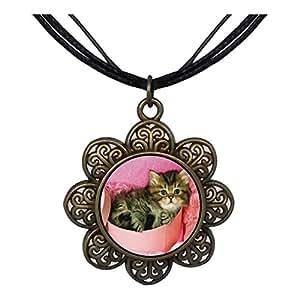 Chicforest Bronze Retro Style Tabby Cat Sun Flower Pendant