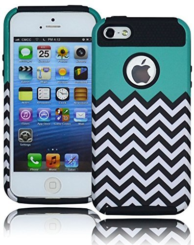 Bastex Heavy Duty Hybrid Hard Case for Apple iPhone 5, 5S, 5G, 5th Generation - Black Silicone Shell with Teal Top and Black/White Chevron Design Cover