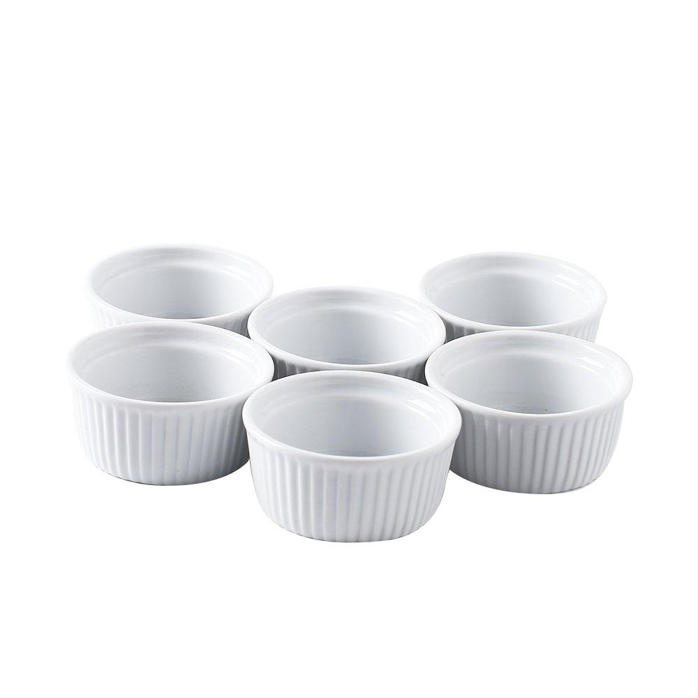Joohoo 4 oz. High White Durable Porcelain Ramekins, Set of 6