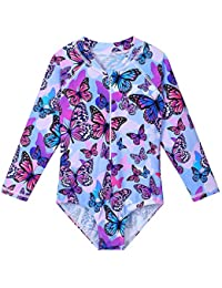 TFJH E Girls Long Sleeve Swimsuits Rash Guard Sunsuit Zipper 1pcs UPF 50+,Purple Butterfly 128/134
