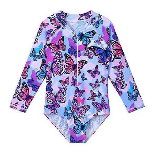 ZNYUNE Girls One Piece Rashguard Swimwear Long Sleeve Swim Suit with Zipper UPF 50+ Sun Protection (PurpleButterfly, for 4-5 Years)