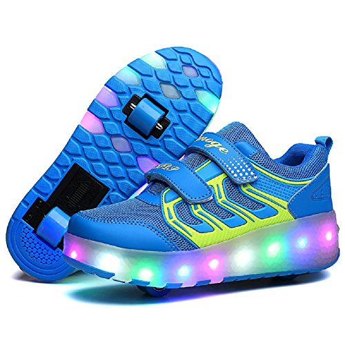 Nsasy YCOMI Girl's Boy's LED Light Roller Shoes with Single Wheel Skate Sneaker ()