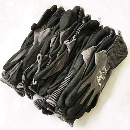NJ Nitrile-impregnated Labor Insurance Gloves Wearable Work Gardening Maintenance Treatment Gloves 12 Pairs (Color : Dark Gray) (Work Impregnated Glove)