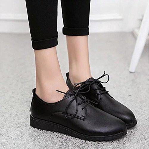 Noir Cheville Hcfkj Des Cuir Occasionnelles Plates Chaussures Sport La Confortables En De Femmes Ete Lacets Femme Aw4AZqf