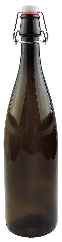 inkl Etiketten mikken 6 x braune Glasflasche 1 Liter mit B/ügelverschluss aus Porzellan