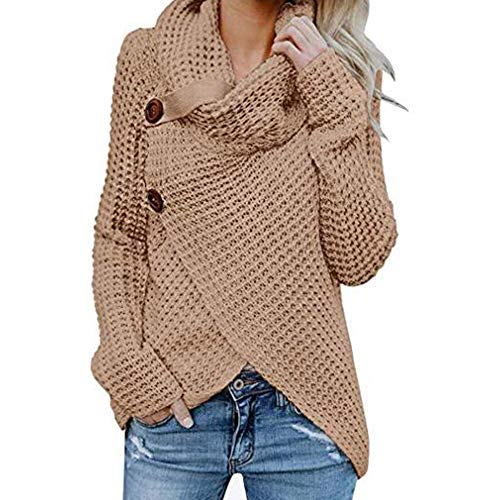 TRAIPAINK Women's Chunky Turtle Cowl Neck Asymmetric Hem Wrap Sweater Coat with Button (Khaki, Small)