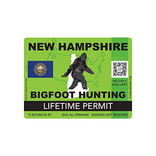 New Hampshire Bigfoot Hunting Permit Sticker Die Cut Decal Sasquatch Lifetime FA Vinyl