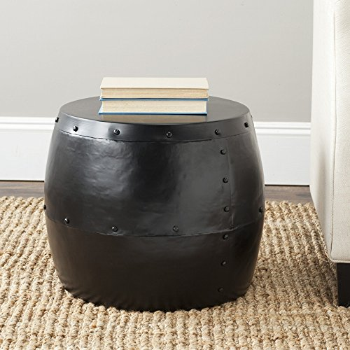 Safavieh Gardner Drum Side Table, Black (Drum Tables)