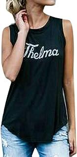 Vests Home Camiseta sin Mangas con Cuello Redondo y Camiseta sin Mangas con Estampado de Verano para Mujer (Color : Black, Size : Small)