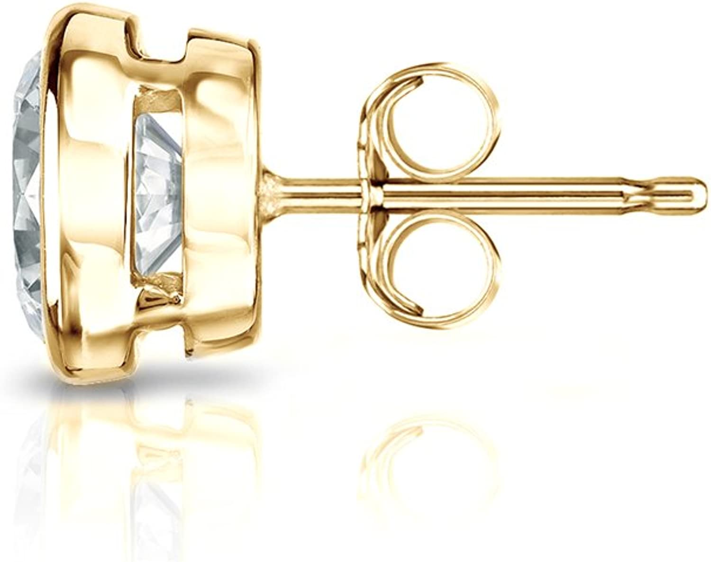 Push-Back 1//8-1 ct, White, I1-I2 14k Yellow Gold Bezel-set Round Diamond Mens SINGLE STUD Earring