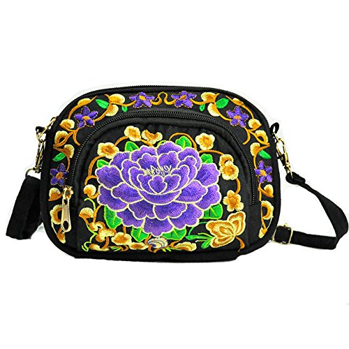 Diagonal Embroidered Purple Canvas Zipper Women's Casual Bag Canvas 7BcqzAW7H