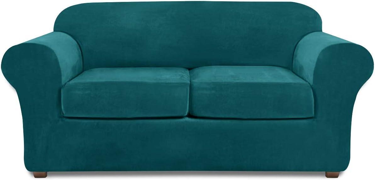 Loveseat Covers for 2 Cushion Couch Velvet 3 Piece Loveseat Slipcover (Teal)