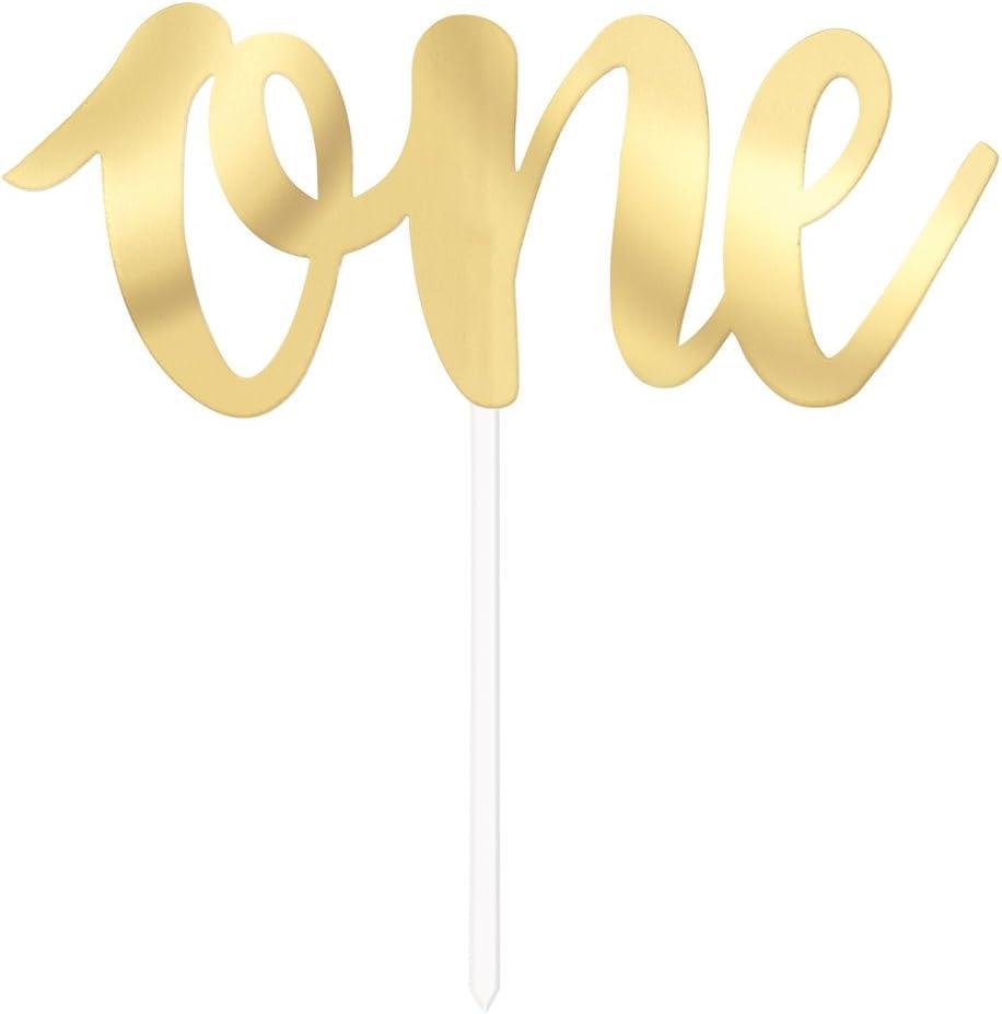 15 cm tall Unique 90901 Gold Foil ScriptONE Cake Topper 1 ct