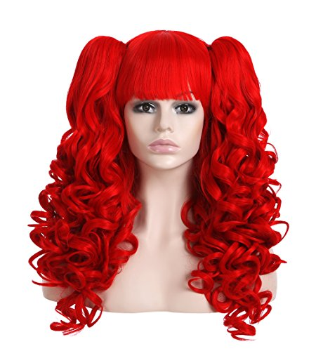 EDENKISS Women Cosplay lolita Clip on Two Ponytails Long Hair Replacement Full Head Wigs (Red MC137)