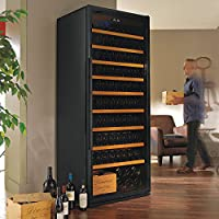 (DR) Classic XL 259-Bottles Black Wine Cellar, Wine Cooler with Clear Glass Door (S1011)