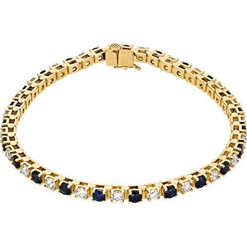 14K Yellow Gold Blue Sapphire & 2 3/8 CTW Diamond Bracelet