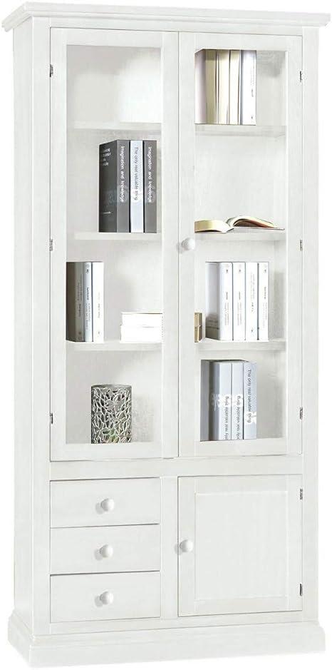Libreria Con Ante In Vetro Prezzi.Spazio Casa Libreria In Legno 2 Ante Vetrate 3 Cassetti Anta