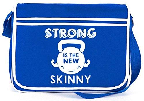 Shirtstreet24, Strong Is The New Skinny, Retro Messenger Bag Kuriertasche Umhängetasche Royal Blau