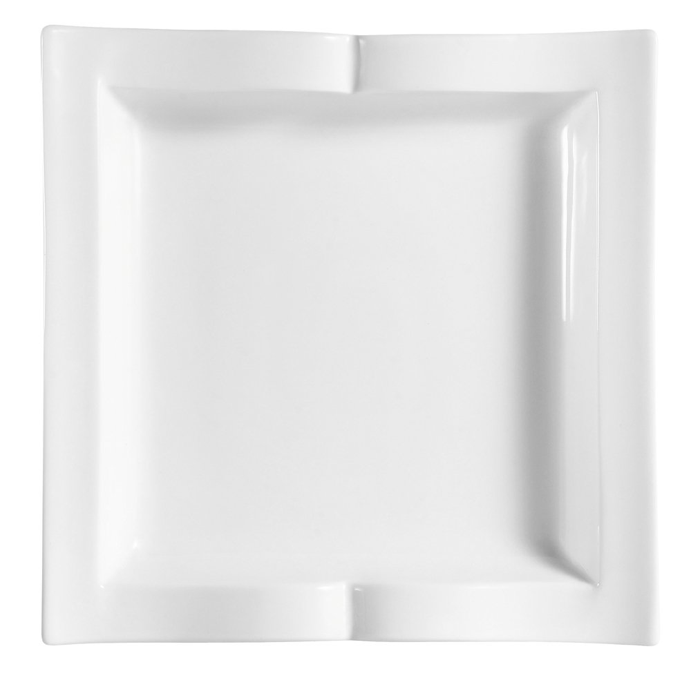 CAC China GBK-8 8-1/2-Inch Goldbook Porcelain Square Plate, White, Box of 24