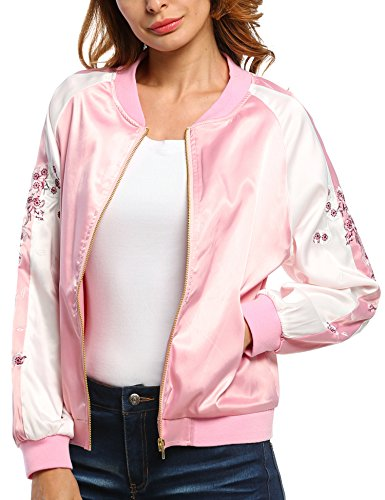Pink Satin Lining (BEAUTYTALK Women's Embroidery Floral Casual Short Bomber Jacket,Pink,L)