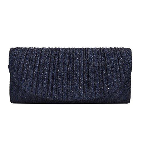Premium Pleated Metallic Glitter Flap Clutch Evening Bag Handbag, Navy