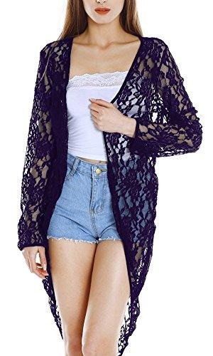 Women's Light Loose Solid Lace Elegant Long Sleeve Sheer Longline Kimono Cardigan (X-Large, Purple) Lace Sheer Coat
