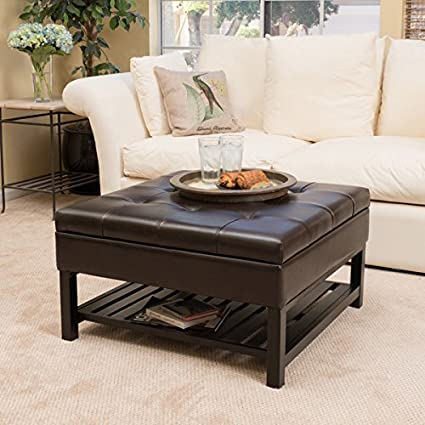 Superbe Christopher Knight Home Miriam Wood Square Storage Ottoman Bench With  Bottom Rack