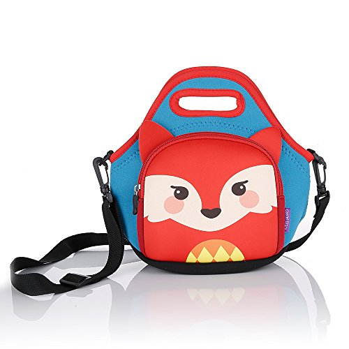 Castle story Lunch Boxes Kids,Waterproof and Insulated Neoprene Lunch Bag for Girl,Fresh and Fit Children Lunch Pouch Zipped Main Compartment for School Picnic (Small Fox)