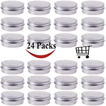 30 ml Silver Small Aluminum Round Lip Balm Tin Storage Jar Containers with Screw Cap for Lip Balm, Cosmetic, Candles or Tea ( Pack of 24 )
