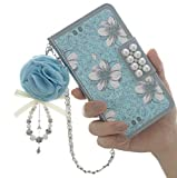iPhone 6 Plus/6s Plus Case, Luxury GEM Series 3D Bling Wallet Leather Purse Flip Folio Book Style Cover Case Glitter Pearl Diamond Magnetic Closure Design Handbag with Shoulder Chain For Girls & Women