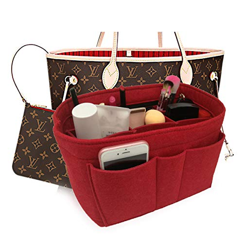 Felt Insert Fabric Purse Organizer Bag, Bag Insert In Bag with Zipper Inner Pocket Fits Neverfull Speedy 8010 Red L