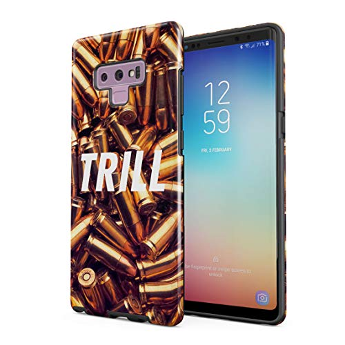 Trill High Life War Fight Wartime Golden Bullets Double Layer Hard PC Armor & Shock Absorbing TPU Tough Cover Shell Compatible with Samsung Galaxy Note 9