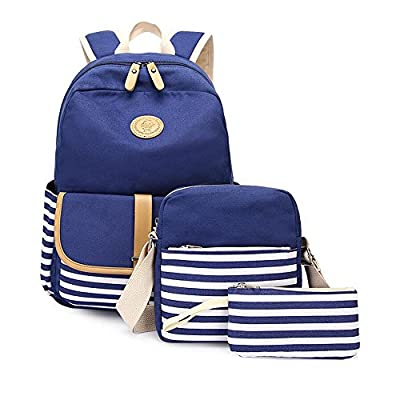 delicate Furlove Cute Thickened Canvas School Backpack Laptop Bag Shoulder Daypack Handbag Teens Backpack Set 3 in 1
