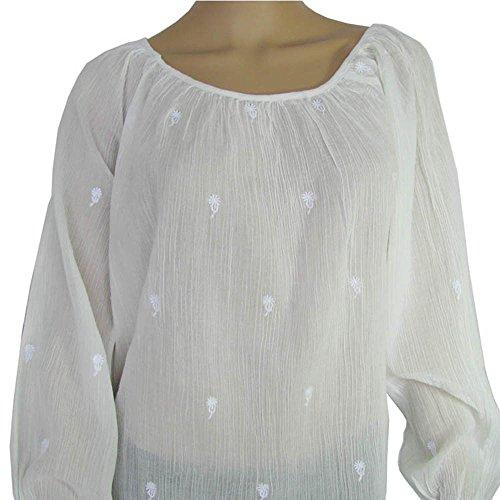 Antik Batik Womens 'Mala' Long Sleeve Blouse, White, Size XS/36