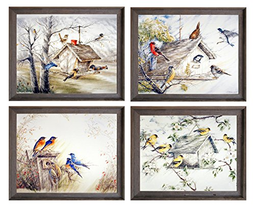 Gold Finches Birds Bluebirds Birdhouse Wall Decor Picture 8x10 4 Set Barnwood Framed Art Print Posters