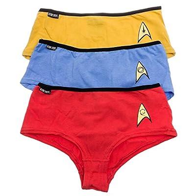 Star Trek Womens Uniform Bikini Briefs Panties - Set Of 3 (Red, Blue & Gold, XL)