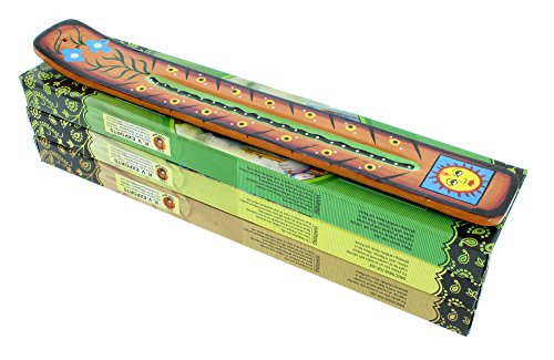 Incense Gift Pack | 1 Hand Painted Incense Burner and 3 Boxes of Incense | Sun with Face Design | Sienna | by ZenScents Incense -