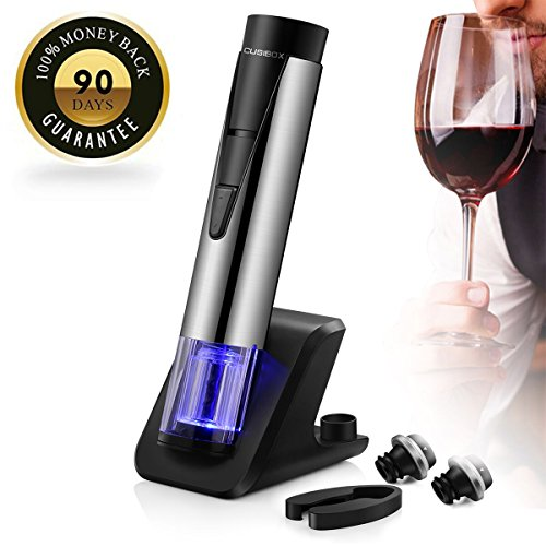 Cordless Electric Wine Bottle Opener Stainless Steel Rabbit Corkscrew Rechargeable Set with Foil Cutter (wine openers 001)