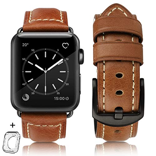 Compatible for Apple Watch Band 42mm 44mm Men,Top Grain Leather Band Replacement Strap iWatch Series 4/3/ 2/1,Sport, Edition. New Retro discoloured Leather (Retrobrown+Black Buckle, 42mm44mm)