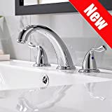 Phiestina Commercial Stainless Steel 3 Holes Deck Mount Widespread Double Handles Bathroom Faucet, Chrome Finish Without Drain And Hoses