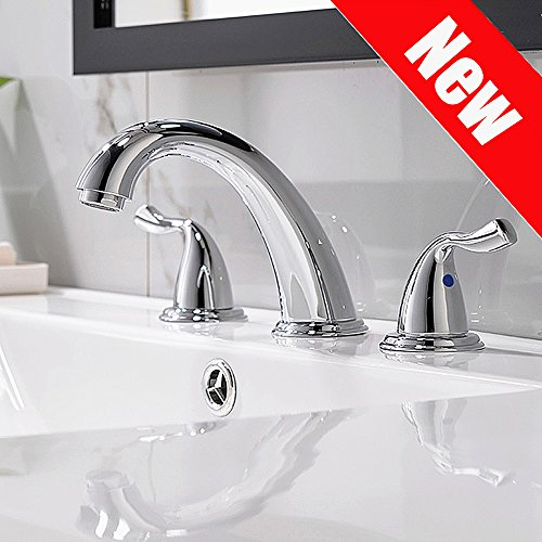 Phiestina Commercial Stainless Steel 3 Holes Deck Mount Widespread Double Handles Bathroom Faucet, Chrome Finish Without Drain And Hoses Deck Mount Faucets Bathroom Sink