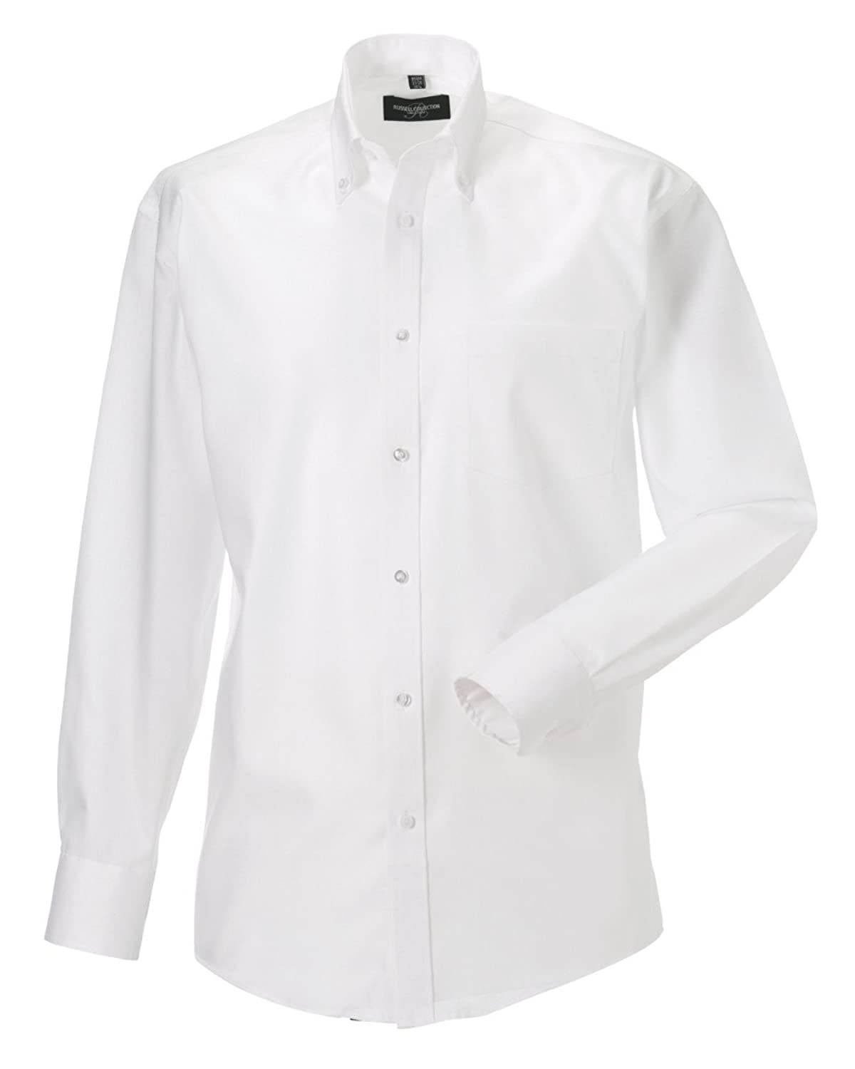 """Russell Collection Mens L/S N.Iron Shirt Colour=White Size=19"""""""
