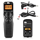 Pixel T9-S1/S2 LCD Wired/Wireless Shutter Release Remote with Two Connecting Cables Timer Remote Control for Sony A560/A580/A390/A450/A500/A550/A850/A900/A350/A200/A58(S1/S2)
