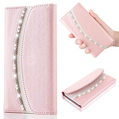 Samsung Galaxy A7 2018 Case Bling Bling Luxury Crystal Diamond [Rhinestones] Flip PU Leather Case,[Stylish Handbag] with Magnetic Wallet Card Silicone Cover for Galaxy A7 2018 Phone Case-Rose Gold